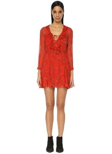 İro Uzun Kollu Çiçekli Mini Elbise Kırmızı